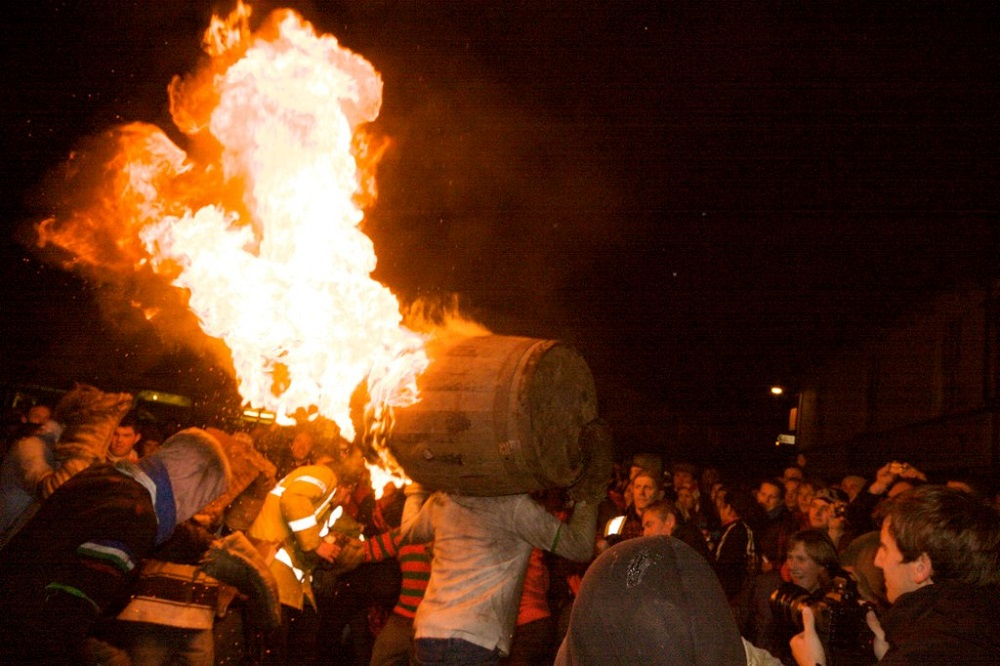 Flaming Tar Barrels in Otery St Mary, Devon