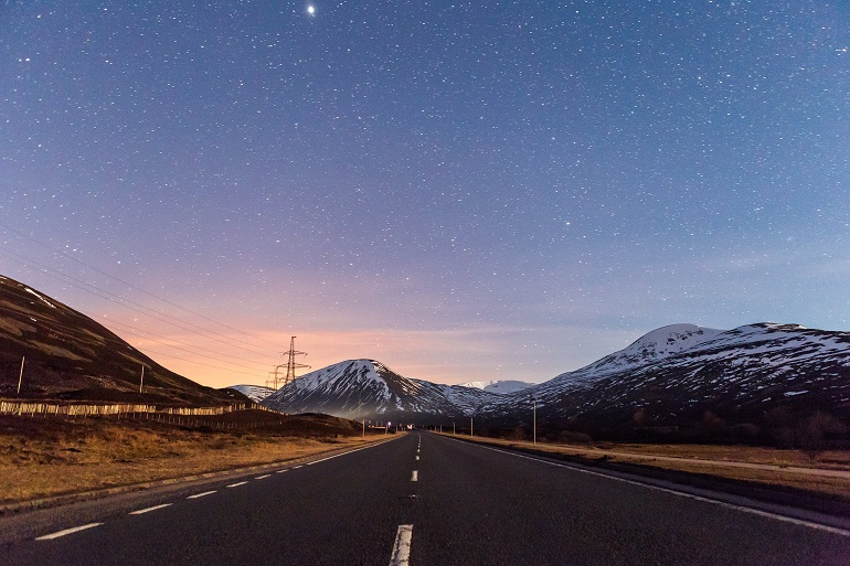stars on the road to pitlochry, scotland, scenic drives in the UK