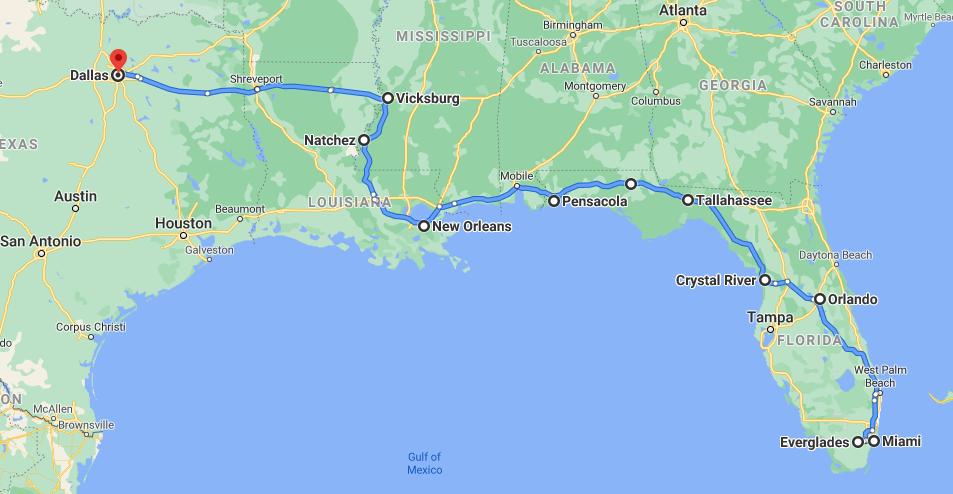 Miami to Dallas One Way RV Rental Road Trip