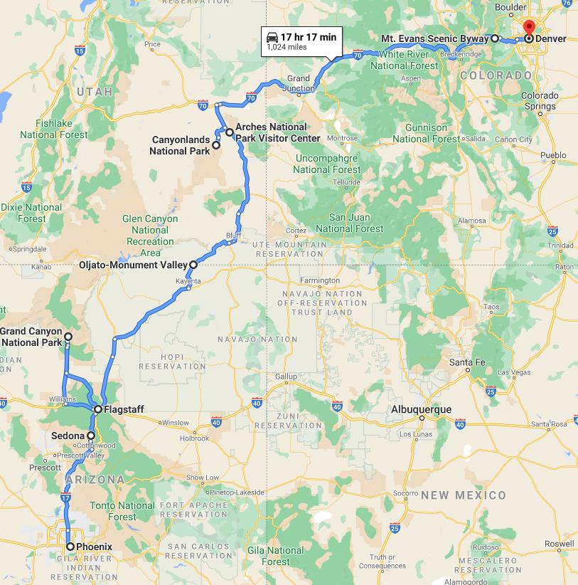 Phoenix to Denver One Way RV Rental Road Trip