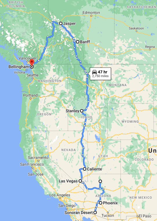 Border to Border Road Trip: Phoenix to Bellingham or Seattle