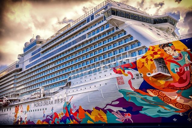 Colorful cruise ship; cruising etiquette